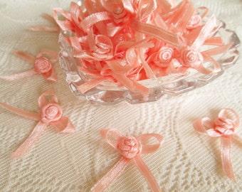 Orange Rose Ribbon, Sweet orange bow, orange rose, 50 pcs. rose applique, fabric rose, ribbon, fabric bow, wedding, party gift for her party
