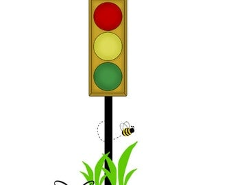 STOP SIGN DECAL Nursery Wall Art Mural Baby Boy Kids Room - Traffic light for bedroom