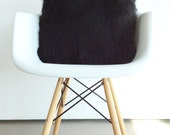 Black fur pillow throw suede cover 20 X 20 fluffy black fur black suede pillow cover decorative ONE