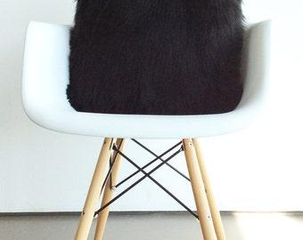 Black fur pillow throw suede cover 20 X 20 fluffy black fur
