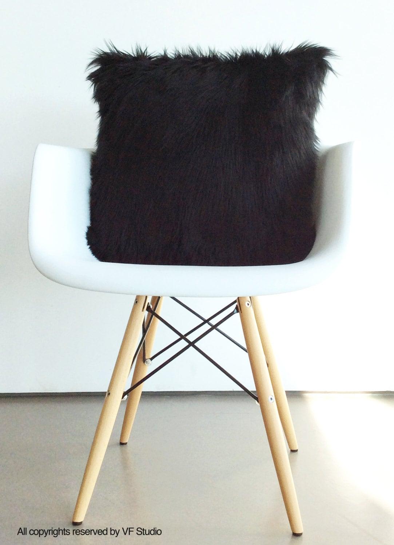 Black fur pillow throw suede cover 16 X 16 fluffy black fur
