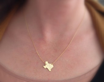 Texas Necklace // Gold or Silver Texas Necklace // State Necklace // Lone Star Necklace