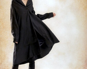 Ruffle Coat Jacket in Black /  Trench coat Long Coat jacket Linen Coat Women Designer Coat Swing Coat Winter Coat- Custom plus size A8056