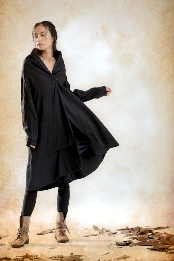 Ruffle Coat Jacket In Black / Trench Coat Long Coat Jacket Linen Coat Women Designer Coat Swing Coat Winter Coat- Custom Plus Size A8056