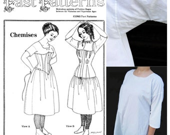 Past Patterns 002, Victorian Era Chemise in 2 Syles, Pull-over Scoop or Neckline Slit, Upcycle to Bohemian Peasant Dress or Tunic, All Sizes