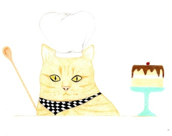 Birthday Card - Ginger Orange Cat Chef - Cat Birthday Card