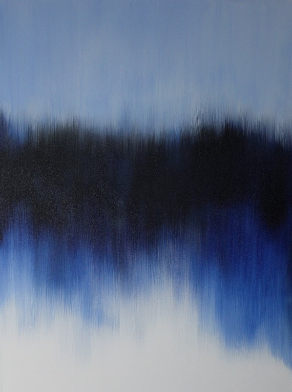 Indigo Blue Abstract Painting Original Art On 30x40x1 5 Large
