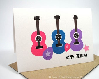 Birthday Card Girl - 3 Guitars -  HBC143