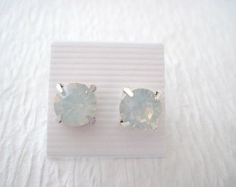 White Opal Swarovski Crystal Stud Earings/ Crystal Studs /Bridesmaid Jewelry/ Wedding Jewelry/Swarovski Crystal Earings