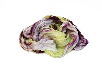purple silk scarf - My Fair Lady - Aniuta -  light grey, purple, yellow silk scarf.
