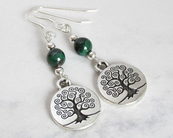 Tree of Life Earrings,  Malachite and Sterling Silver Beads, Sterling Silver Earwires