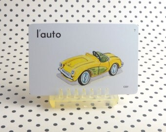 "Vintage 1962 ""Car"" Picture & Word Flash Card, Choice of English (car), French (l'auto) or Spanish (el automovil), Whitman Publ, Racine, WI"