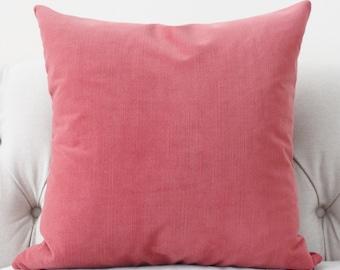 Strawberry Pink Pillow Cover - Rhubarb Velvet Pillow Cover - RosePink  Pillow - Pink Solid Pillow