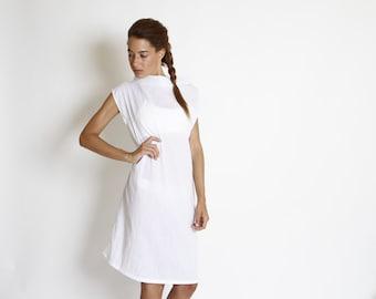 White summer dress, semi sheer, loose fit, minimal white dress, cowl neck, short sleeves, casual style, summer dress, short dress, sale