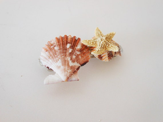 Seashell Hair Accessory - Handmade Seashell Hair Barrette - Natural Shells - Ocean & Beach Themed Jewelry - Handmade Accessories