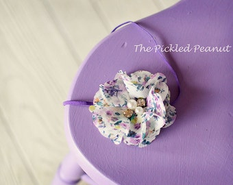 Baby Headband Newborn Headband Toddler Head Band Baby Bow Hair Bow Purple Flower Hair Clip Baby Infant Baby Girl Headpiece Vintage Bebe girl