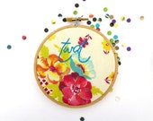 Swear Word Hoop Art : Tw#t Embroidery Hoop - Possibly Mature - Purple and Yellow Floral Home Decor