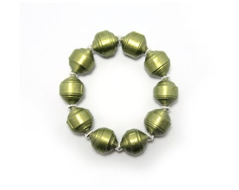 Bracelet, Paper Bead Bracelet, Olive Green Paper Bead Bracelet, Handmade Paper Beads, Paper Bead Jewelry, Green Bracelet, Olive Paper Beads