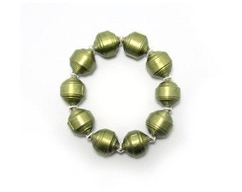 Bracelet, Paper Bead Bracelet, Olive Green Paper Bead Bracelet,  Paper Bead Jewelry, Green Bracelet, Olive Paper Beads, Free Shipping