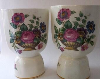 Romantic Antique Large Egg Cups/ DOUBLE EGG CUP/ Porcelain Cups/ Shabby Chic Tabletop/ Egg Coddler/ ANTiQUE Transferware English Porcelain