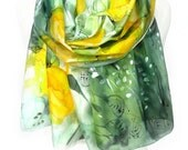 Tulips Scarf. Silk Scarf. Hand Painted Floral Scarf. Woman Birthday Gift. Yellow Green Scarf. Genuine Art. 18x71in MADE to Order