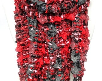 Red Scarf. Crochet Shawl. Pashmina. Chunky Scarf. Ruffled Scarf. Winter Stretchable Elastic Pashmina. 12x71in (30x180cm) Ready2Ship.