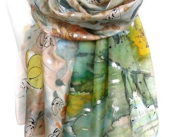 Birch Trees Scarf. Pastel Silk Scarf. Green Forest Shawl. Silk Painting Birthday Gift. Butterflies Scarf Silk Shawl 18x71in MADE to ORDER