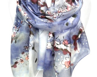 Hand Painted Silk Scarf. Violet-Blue Woman Silk Shawl. Anniversary Gift. Wedding Bridal Gift. Genuine Art on Silk. 18x71in MADE to ORDER