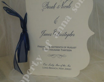 Flourish Edge Elegant Wedding Ceremony Programs Folded with Ribbon - Personalize Colors and Motif at no extra charge