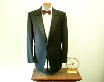 1970s-80s PIERRE CARDIN Tuxedo Jacket Mens Vintage Formal Black Dinner Jacket / Tux by Pierre Cardin - Size 46 Long (XL)