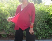 Cotton Knit Open Front Drape Cardigan, Casual Lightweight Three Quarter Bat Wing Sleeve Drape Cardigan - Brick Red All Sizes / Color Options