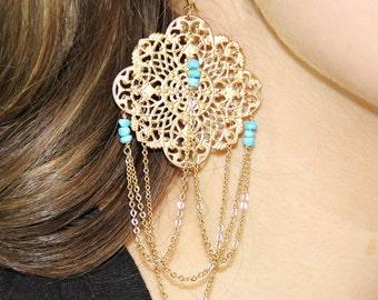 Long Sleeping Beauty Turquoise Chandelier Earrings - Turquoise Earrings
