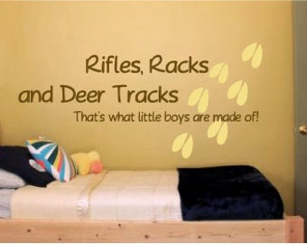 Rifles Racks and Deer Tracks Vinyl Wall  Art Decal