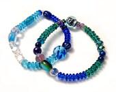 Blue Stretch Bracelet Set, Blue Beaded Bracelet Set, Glass Layering Bracelets, Bohemian Jewelry, Blue Boho Bracelet Set