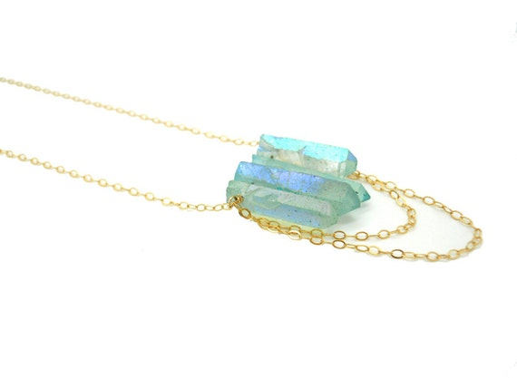 Aqua Crystal Point Necklace - Crystal Quartz Spike Necklace