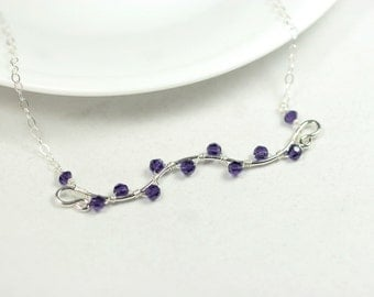 Purple Swarovski Necklace Wire Wrapped Jewelry Handmade Sterling Silver Jewelry Handmade Dark Purple Necklace Swarovski Crystal Jewelry