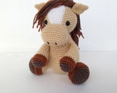 Crochet Horse Stuffed Animal in Tan and Brown