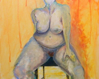 Nude Original Expressionist Painting