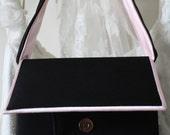 Elegant black satin evening, wedding bag with pink trim,French chic,Romantic handbag