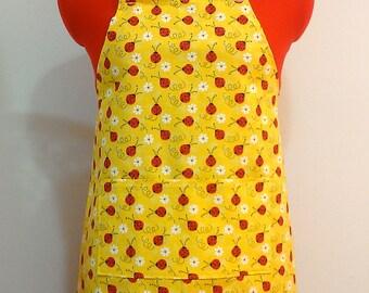 Kids Apron - Yellow Ladybug Childrens Apron - Childs Apron - Kitchen Accessory