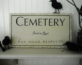 Halloween Decor. Cemetery Sign. In Cream and Black