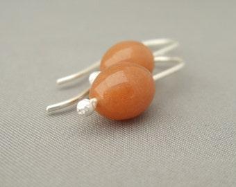 Orange Earrings - Red Aventurine and Sterling Silver Earrings