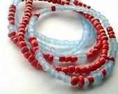 Beaded Stretch Bracelet- Orange and Blue Bracelet- Beaded Stackable Bracelet- Blue Beaded Bracelet- Pumpkin Orange Beads- Cluster Bracelets