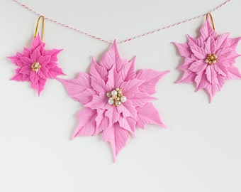 Set of 3 clay ponsettias ornaments for Christmas Tree