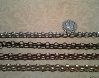 Rolo chain in 6mm size-Antiqued Silver, Antiqued Brass, Antiqued Copper and Brushed Gold-KR823ABASACBG