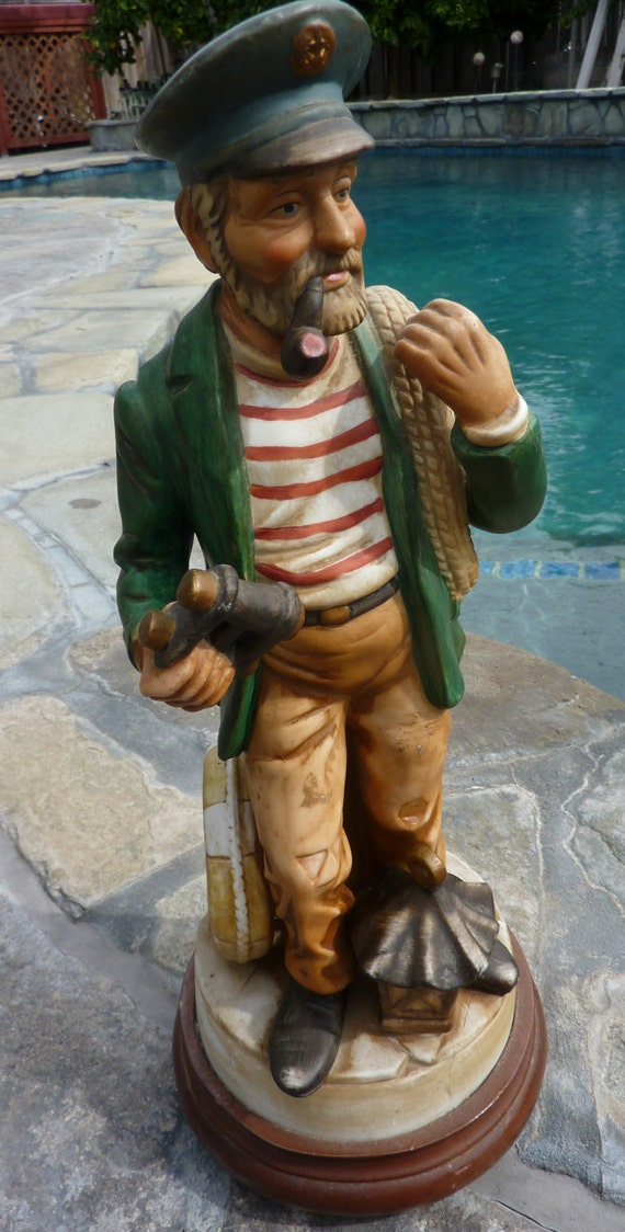 Ship Boat Captain Skipper Statue Large Vintage Musical Plays