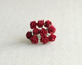 10mm Tiny Red Paper Roses with Wire Stems - 10 mulberry paper flowers [102]