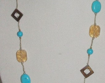 Vintage Necklace Set Gemstone Turquoise and Tigers Eye  -                  T092