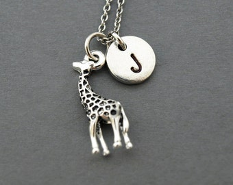 Small Giraffe charm necklace, Baby Giraffe Charm, initial necklace, hand stamped initial charm, personalized, monogram