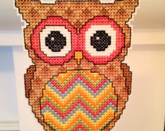 New Brightly Colored Owl Cross Stitch Christmas Ornament
